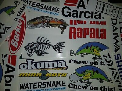 FISHING STICKERS 1 pack of 10 mixed with left & right - FOR BOAT KYACK CAR