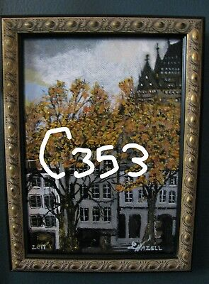 "C353     Original Acrylic Painting By Ljh     ""Autumn Leaves-Quebec City"""