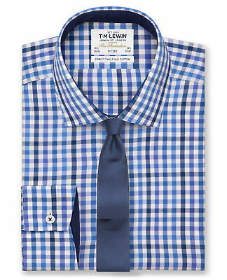 T.M.Lewin Premium Fitted Navy Blue Block Check Shirt