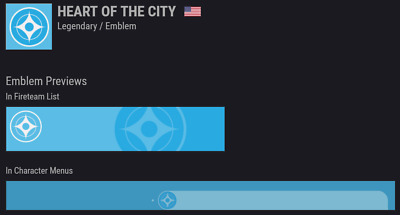 Destiny 2 | Heart of the City Emblem | 24/7 Instant 5 Second Delivery