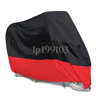 XXXL Black Red Motorcycle Cover w/ Lock Hole For Harley Dyna Softail Sportster