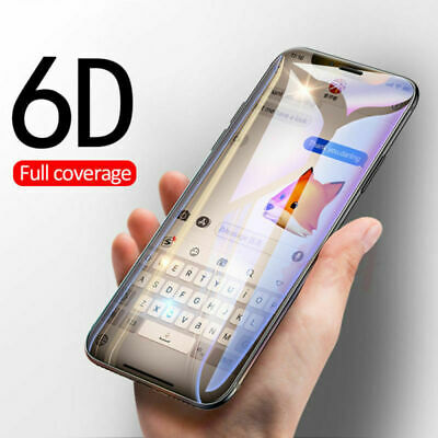 6D Full Cover Tempered Glass Screen Protector For iPhone 6 7 8 Plus XS Max XR