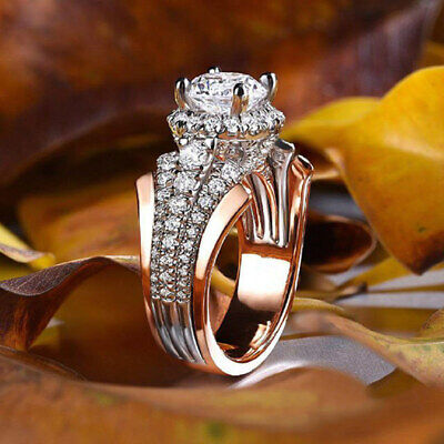 Fashion Women Rings Rose Gold Filled Round Cut White Sapphire Ring Size 6-10