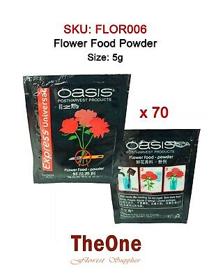 70 x 5g Floralife Oasis Universal Flower Food Sachets Clear