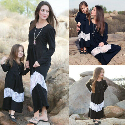 New Mother Daughter Matching Clothes Lace Mom Kids Parent Long Dress Outfits