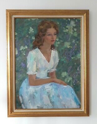 RUSSIAN SCHOOL- Large Oil Portrait of Lady in Garden. Signed. Late 20thc