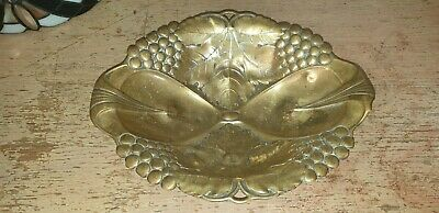Art & Crafts Embossed Footed Brass Fruit Display Bowl