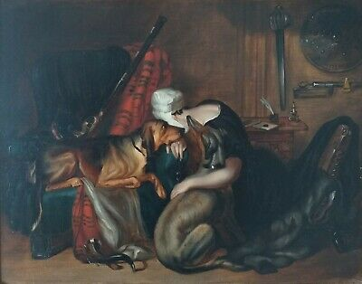 ENGLISH 19thc Oil Painting. Genre- Woman + Dogs in Antique Interior. Provenance