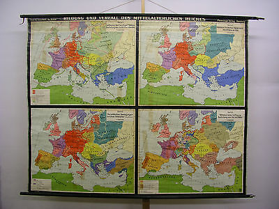 Schulwandkarte Old Wall Map Card Medieval German Reiches 204x163c ~ 1957