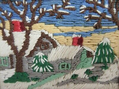 Finished Crewel Embroidery Long Stitch Completed Country Barn Winter 6x8