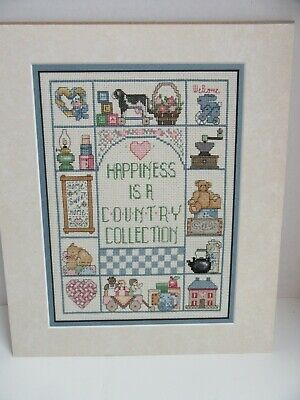 Finished Cross Stitch Sampler Happiness Country Collection Completed 12x14 Heart