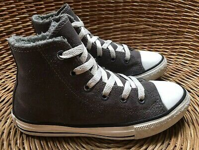 Converse All Star Kids' Girls' Boys' Grey Suede Hi-Top Ankle Boots UK 13 EU 31.5