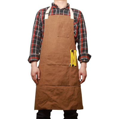 HANSHI Unisex Heavy Duty Waxed Canvas Work Apron, Waterproof Tool Carpenter Soft