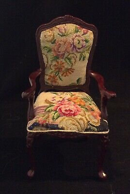 Bespaq Miniature Dollhouse Arm Chair with floral petit point - needlepoint.