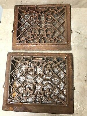 "Antique 12""x10"" Cast Iron Vintage Heat Vent Wall Register   1A"