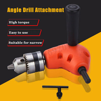 Right Angle Drill Attachment Drive Adapter Chuck Key Power Tool 3/8'' 90° Degree