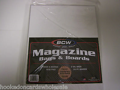 "25 each BCW Brand 8 3/4"" Magazine Storage Poly Bags & Backer Boards PREMADE"