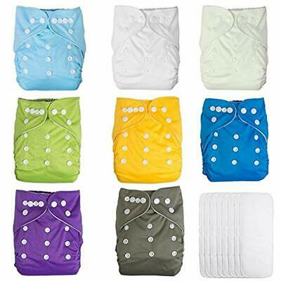 Baby Pocket Cloth Diapers Reusable Washable Adjustable 8 Pack Inserts Shower ...