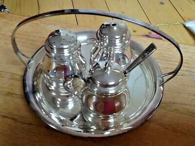 Vintage E.P.N.S Silver Plated 5 pieces Cruet Set. Angora -  Made in England