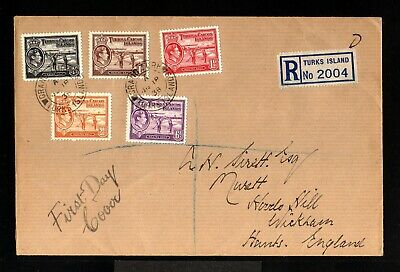 11282-TURKS & CAICOS-REGISTERED FIRST DAY COVER GRAND TURK 1938.WWII.British.FDC