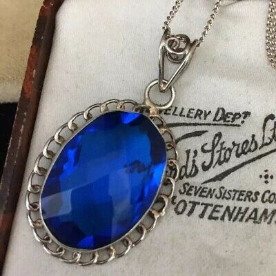 vintage jewellery stunning sterling silver & Bristol blue glass pendant & chain