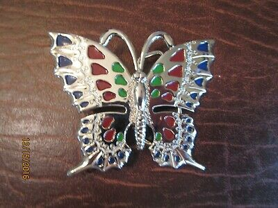 Silver tone Butterfly Belt Buckle with Red Blue and Green Enamel - Never used