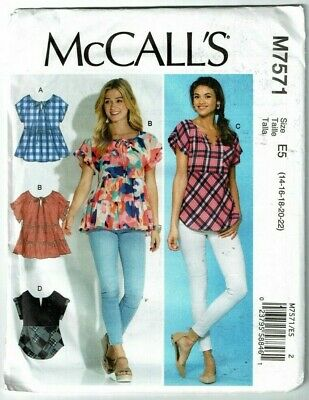 McCalls #7571 Pullover Top with Sleeve & Hemline Variations Pattern Sz: 14-22 UC