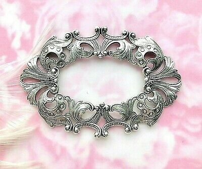 ANTIQUE SILVER Large Oval Scroll Filigree Ornate Frame Stamping Finding (C-1001)