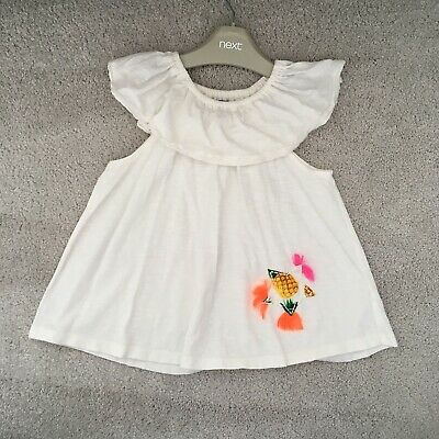 Next Tassel Top 4-5 Years White Shoulder Frill Tshirt Star Pineapple Summer Girl