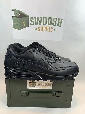 NIKE AIR MAX '90 Leather 302519 001 Black Men's Size 13