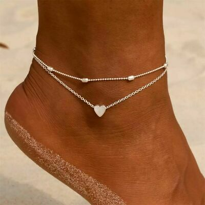 UK Women Ankle Bracelet Sterling Silver/Gold Anklet Foot Chain Boho Beads