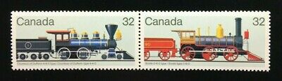 "Canada #1036-1037a MNH, Canadian Locomotives ""2"" Pair of Stamps 1984"