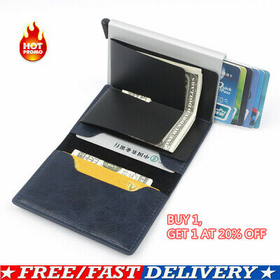 Auto Credit Card Holder PU Leather Case RFID Blocking Metal Wallet Money Clip NT