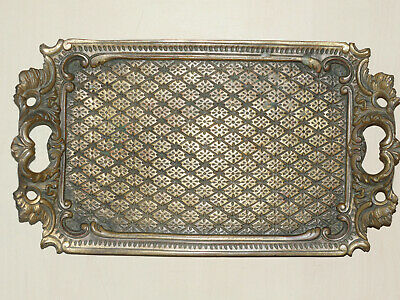 Antique French 12 inches bronze brass yellow metal tray with handles original Fr