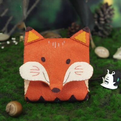 Fox Handbag Card Holder Fabric DIY Craft Kit Needle Felting Pouch Accessories