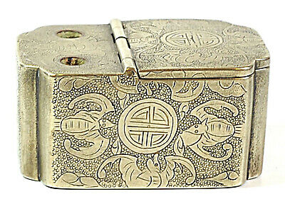 China antique silver plated bronze inkwell box hieroglyphs calligraphy signed