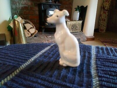 Greyhound Lurcher Whippet Ornament Vintage Statue Beautiful High White Gloss