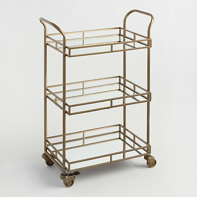 Gold 3-Shelf Rolling Bar Cart Mirrored Trays Castor Wheels Antique Brass Finish