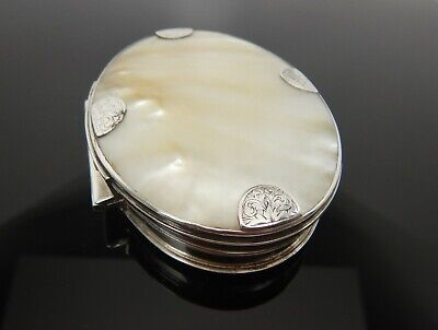 Antique Georgian Solid Silver & Mother Of Pearl Box, Snuff Box