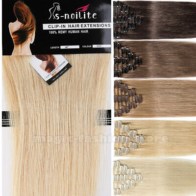AAA+ CLEARANCE Clip In Remy Human Hair Extensions Half Full Head 8PCS UK ON SALE