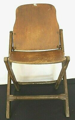 Vintage 1940's US American Seating Co. Grand Rapids, Mi. Wood Folding Chair