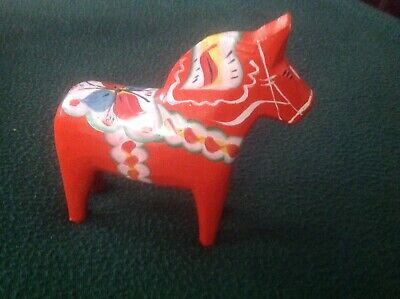 """Vintage folk art wooden Dala horse hand carved and painted Scandinavia 5""""H"""
