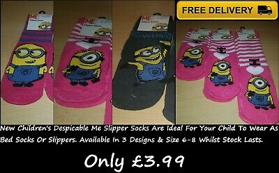 Brand New Children's Despicable Me 1 Pair Slipper Socks In Various Colours/Size