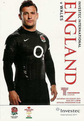 ENGLAND v WALES 6 Aug 2011 RUGBY PROGRAMME, TWICKENHAM PRE RWC WARM UP MATCH