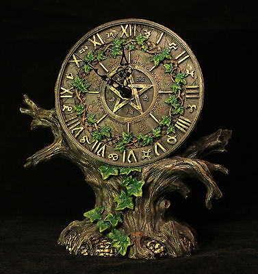 Astrology Zodiac Tree Clock Roman Numerals Battery operated Gift Present