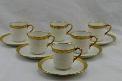 Set 6 Limoges Double Gold Encrusted Demitasse Cups and Sauers