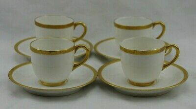 Set 4 Limoges Double Gold Encrusted Demitasse Cups and Saucers