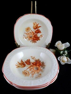4 Rimmed Fruit Sauce Bowls: 1930's CROOKSVILLE China Co Rust Flowers Embossed