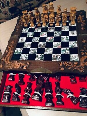 Antique Oriental Asian *Chess Set* with Hand Carved  Wood Pieces Chinese  Rare!