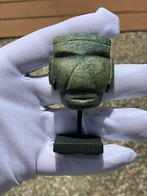 Pre Columbian Mezcala face pendant with Stand Aztec Mayan Olmec Mexican